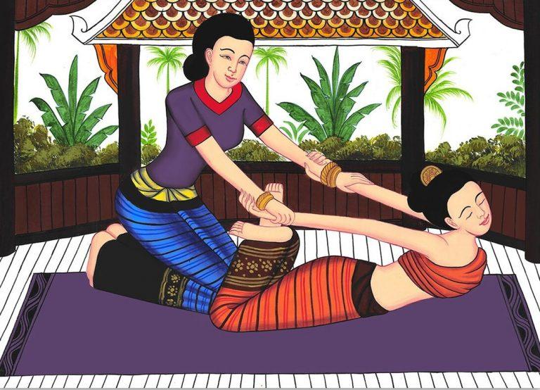 história da massagem tailandesa ilustrada